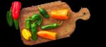 Paprika auf Holzbrett