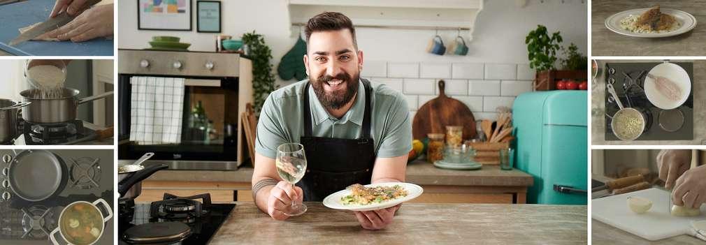 Изображение на Шеф Тодоров с чиния с пъстърва с лимоново ризото