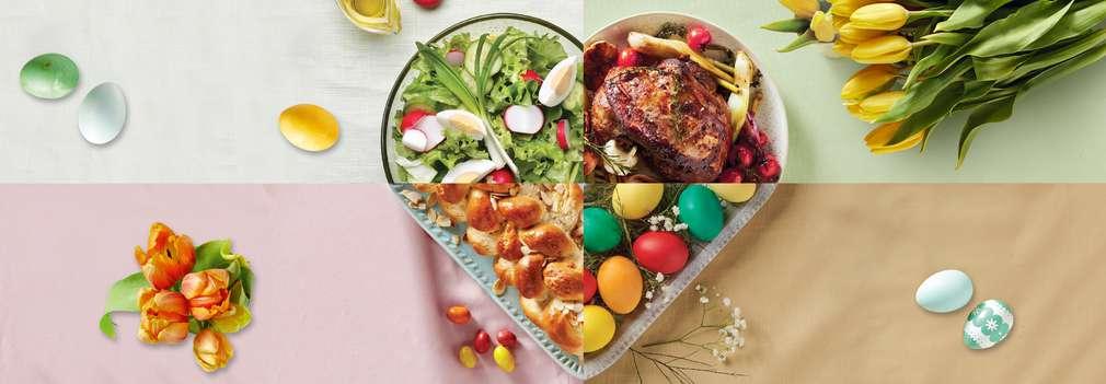 Изображение на различни храни, които похапваме за Великден