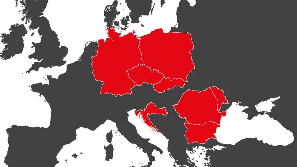 Изображение на част от картата на Европа с фокус фокус върху държавите, в които оперира Kaufland