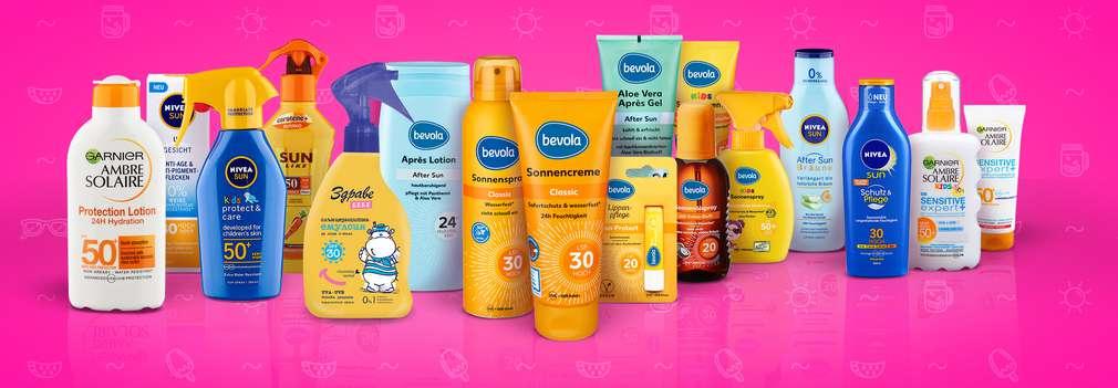 Изображение на различни слънцезащити продукти, които ще откриеш в твоя Kaufland