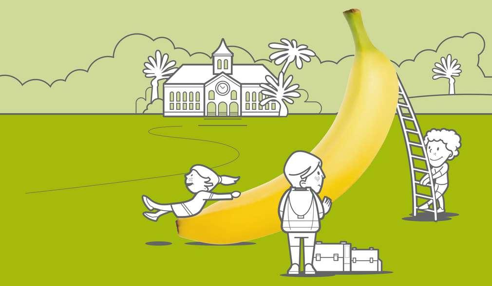 Рисунка на човечета на зелена поляна с гигантски банан