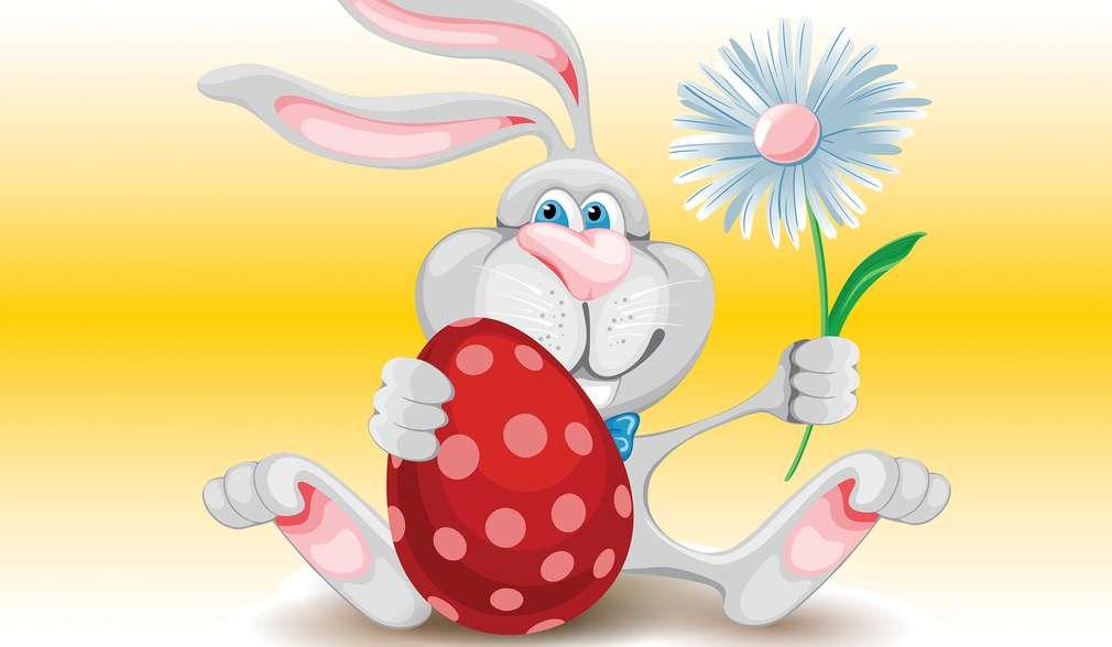 Рисунка на заек с великденско яйце