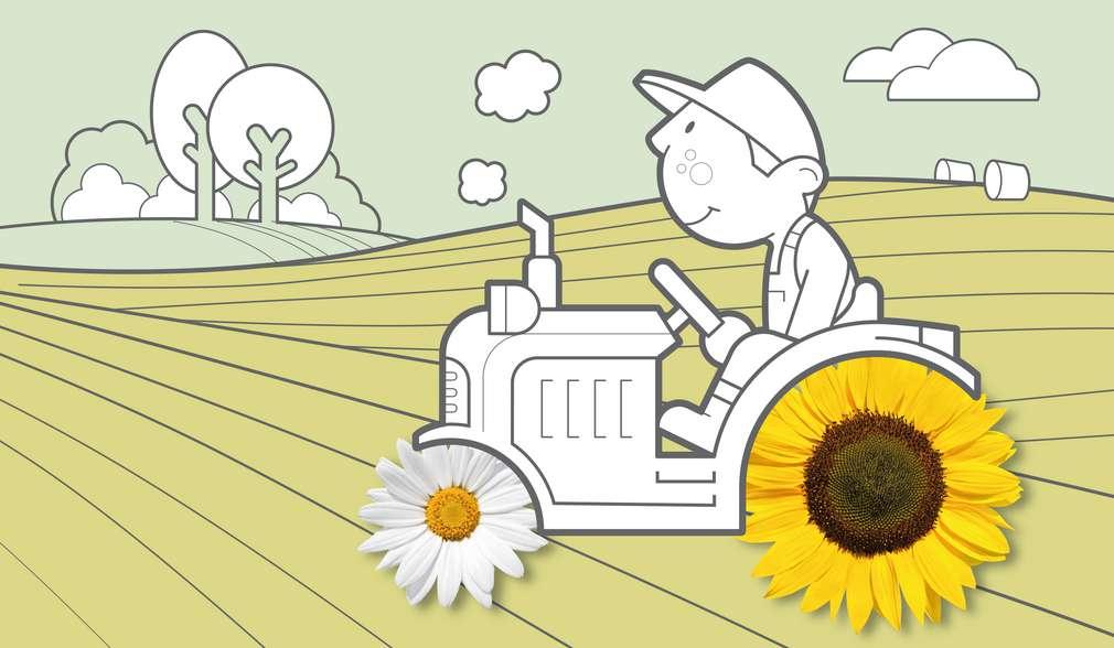 Илюстрация на земеделец, който кара трактор