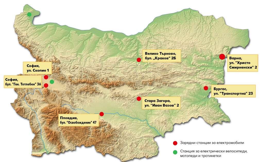 Карта на България, на която са маркирани всички електростанции в страната