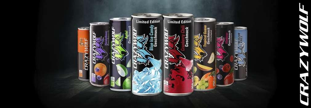 Изображение на различни видове енергийни напитки Crazi Wolf