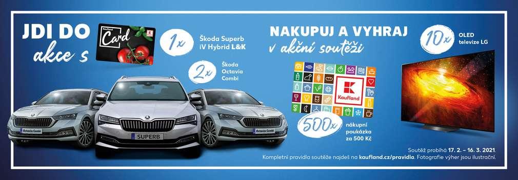 Škoda Superb, Škoda Octavia, LG OLED televize a poukázky na nákup v Kauflandu