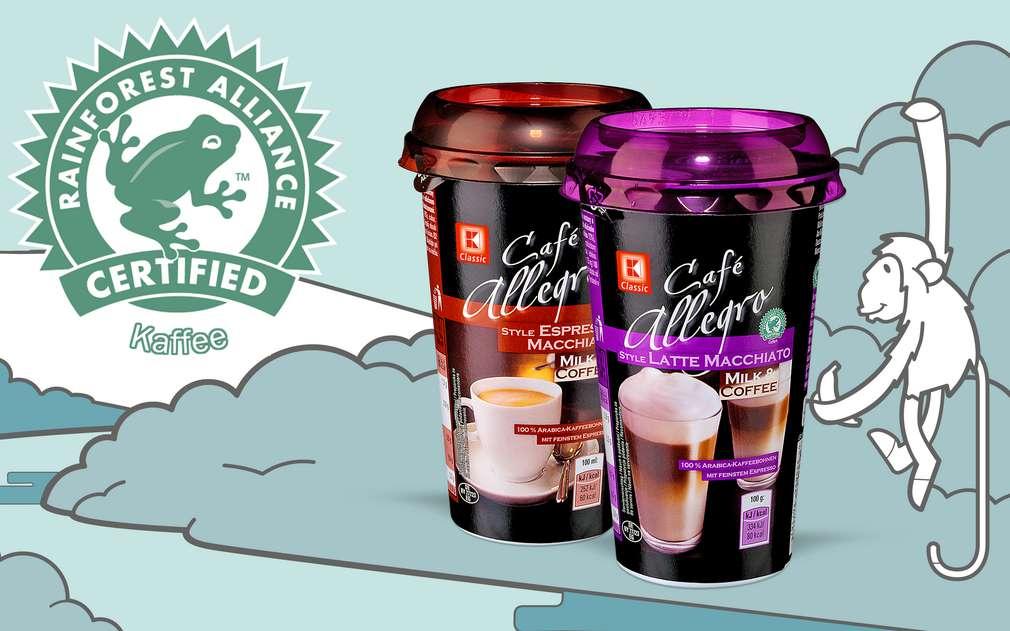 Logo zelené žabky na obalu kávy označuje původ z farem s certifikací Rainforest Alliance