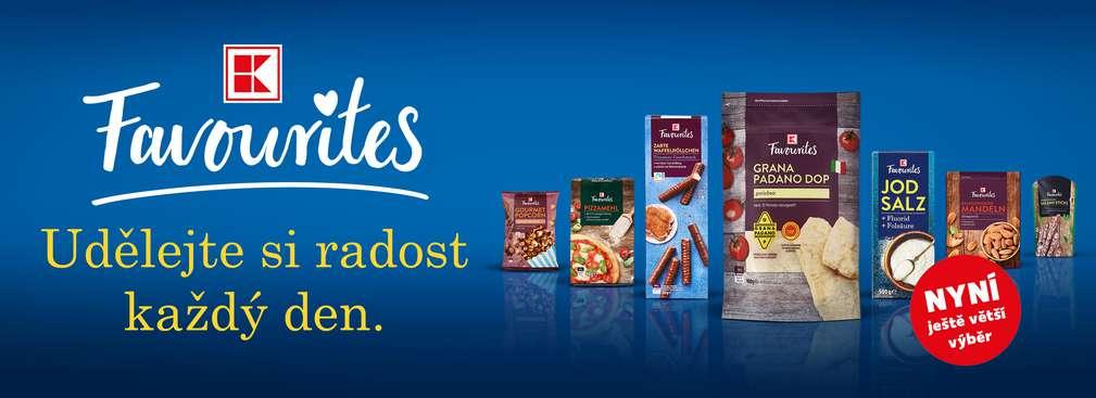 Různé produkty K-Favourites a nápis K-Favourites udělejte si radost každý den.
