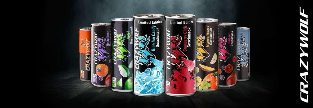 Изображение на различни видове енергийна напитка Crazy Wolf