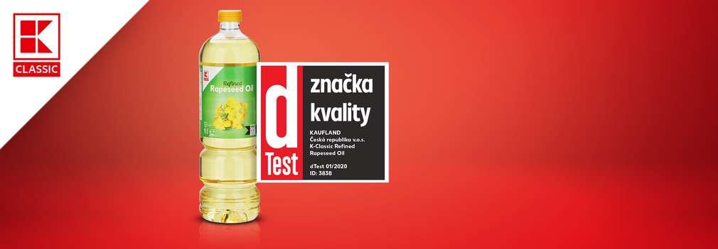 K-Classic řepkový olej - ocenění dTest značka kvality