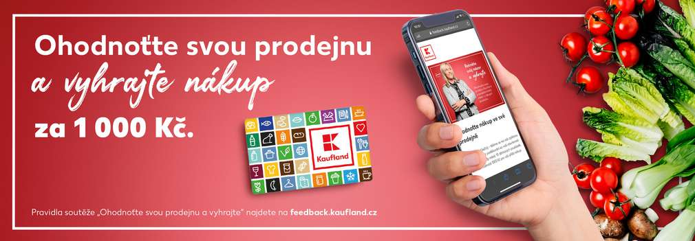 Mobilní telefon s formulářem hodnocení prodejny Kaufland