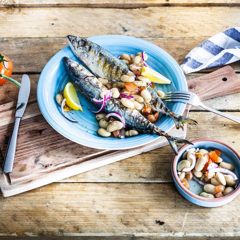 Zobrazit Makrela s řeckým fazolovým salátem receptů