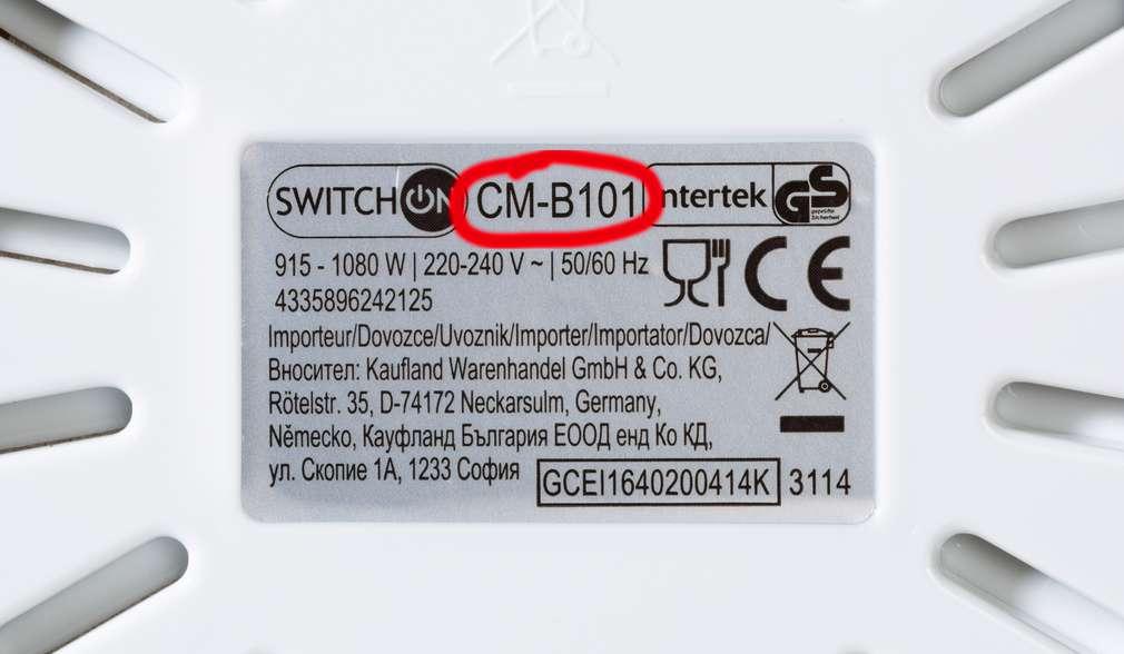 Štítek s produktovým číslem spotřebiče