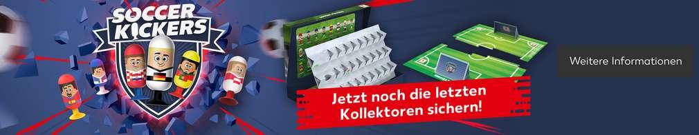 Sammelfiguren Soccer Kickers; Sammeln! Tauschen! Tooor!; Je 15 € Einkaufswert 1 SOCCER KICKER gratis!¹; Button: Weitere Informationen
