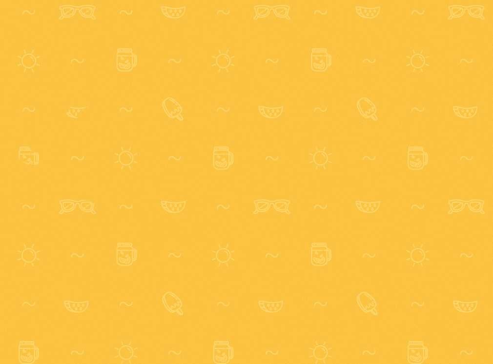 Gelber Hintergrund mit Symbolen wie Eis, Sonne und Welle
