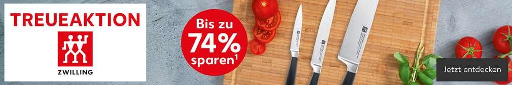 Abbildung: drei Messer auf Schneidebrett; Schriftzug: Treueaktion; Logo: Zwilling; Störer: Bis zu 74 % sparen¹; Button: Jetzt entdecken