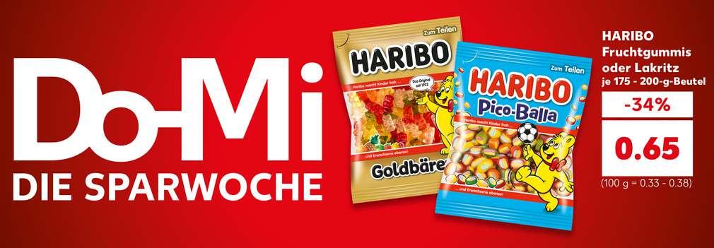 Produktabbildung: HARIBO Fruchtgummis oder Lakritz, je 175 - 200-g-Beutel, -30 %, für 0.90 Euro (100 g = 0.33 - 0.38); Schriftzug: Do-Mi Die Sparwoche