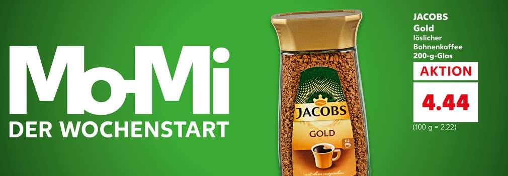 Produktabbildung: JACOBS Gold, löslicher Bohnenkaffee, 200-g-Glas, Aktion für 4.44 Euro (100 g = 2.22 Euro); Schriftzug: Mo-Mi – der Wochenstart