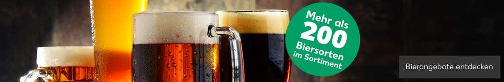 Verschiedene Biergläser; Mehr als 200 Biersorten im Sortiment