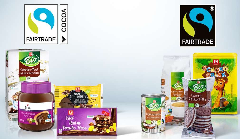 Schokoladenprodukte von K-Classic und K-Bio mit dem Fairtrade-Kakao-Programm-Siegel