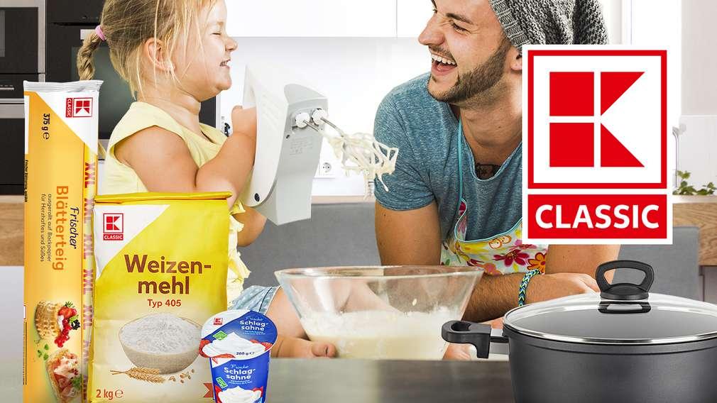 K_Classic produkte in der Küche, im Hintergrund Vater mit Tochter