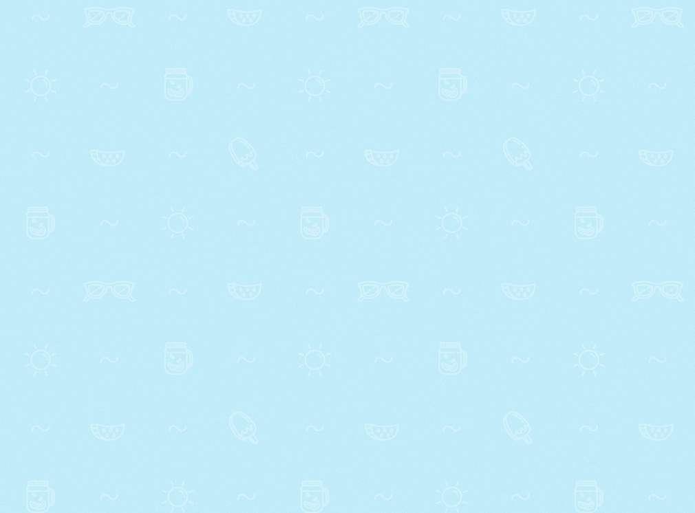 Blauer Hintergrund mit Symbolen wie Eis, Sonne und Welle