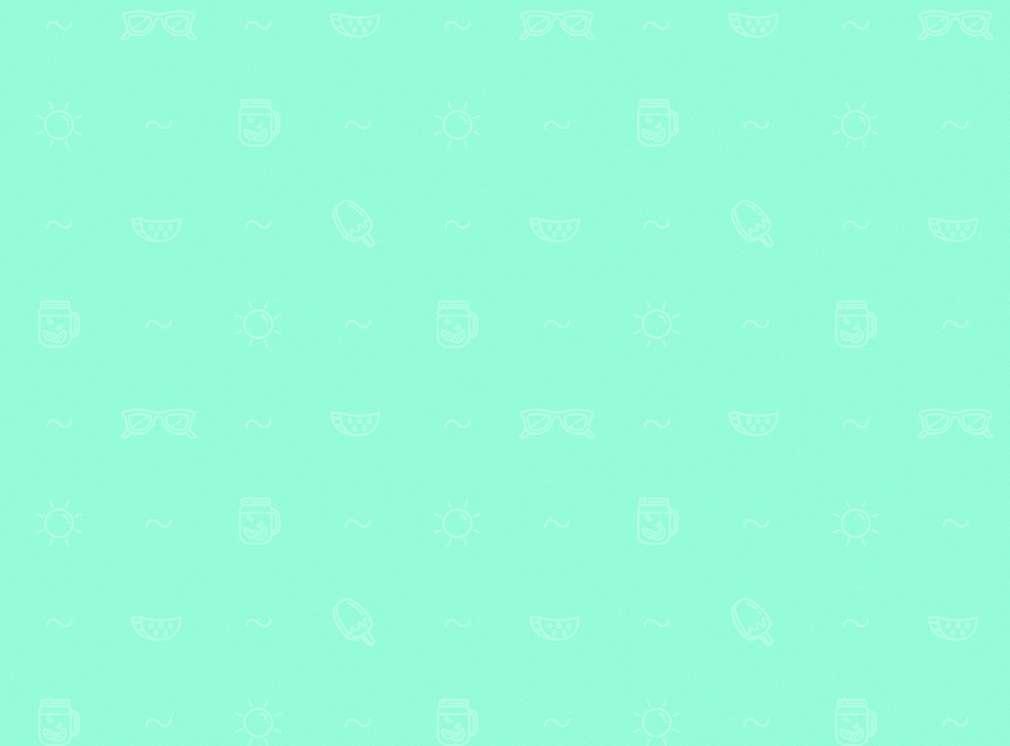 Türkisfarbener Hintergrund mit Symbolen wie Eis, Sonne und Welle