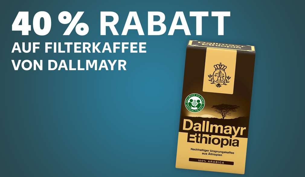 Dallmayr Ethiopia; Schriftzug: 40 % Rabatt auf alle Filterkaffee von Dallmayr