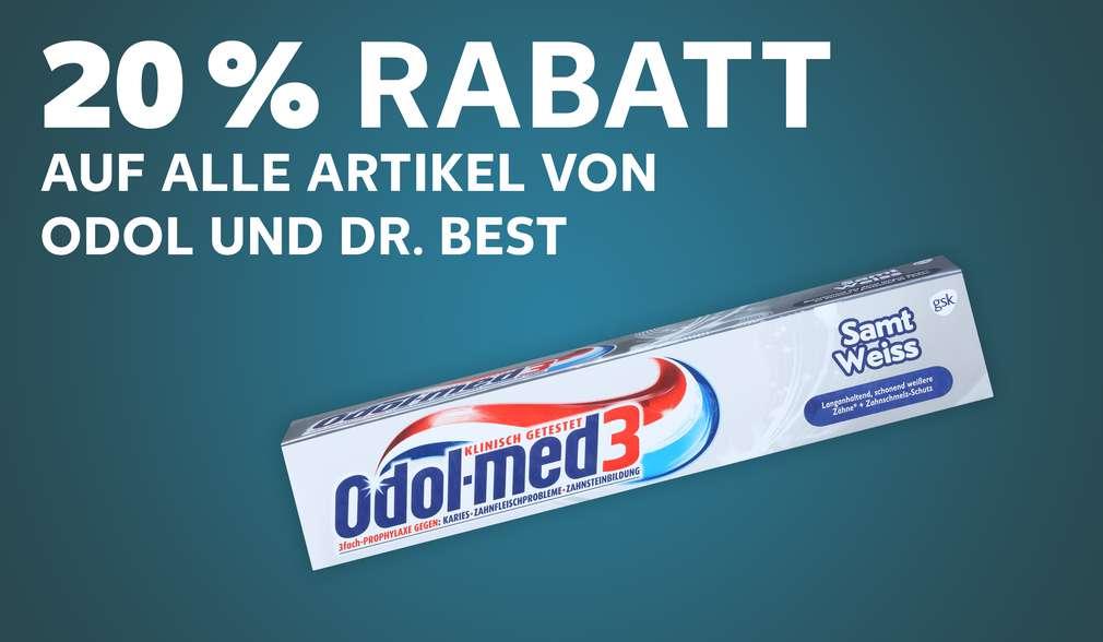 Odol-Med 3 Zahncreme; Schriftzug: 20 % Rabatt auf alle Artikel von Odol und Dr. Best