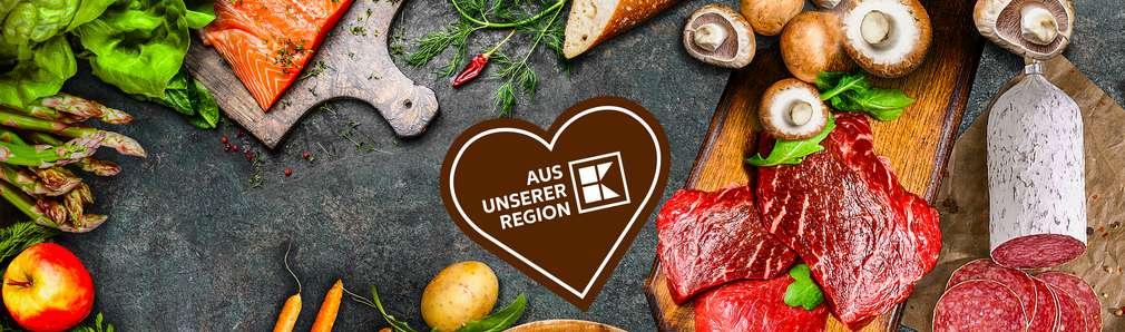 Abbildung von diversen Lebensmittel in Top Shot Format mit Kaufland Logo aus unserer Region