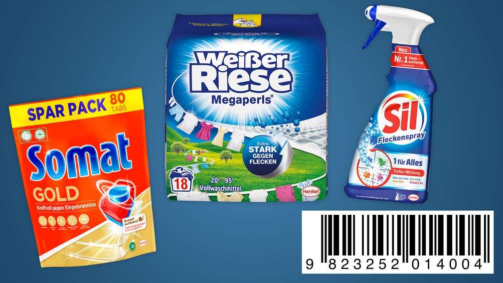 Versch. Wasch-, Spül- und Reinigungsmittel; unten rechts: Code zum Abscannen an der Kasse