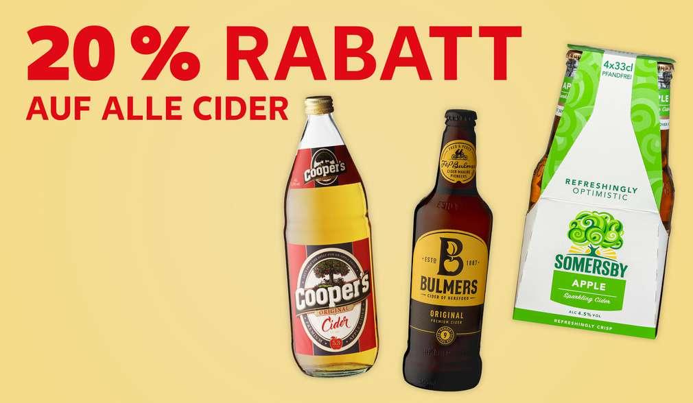 Versch. Cider; Schriftzug: 20 % Rabatt auf alle Cider