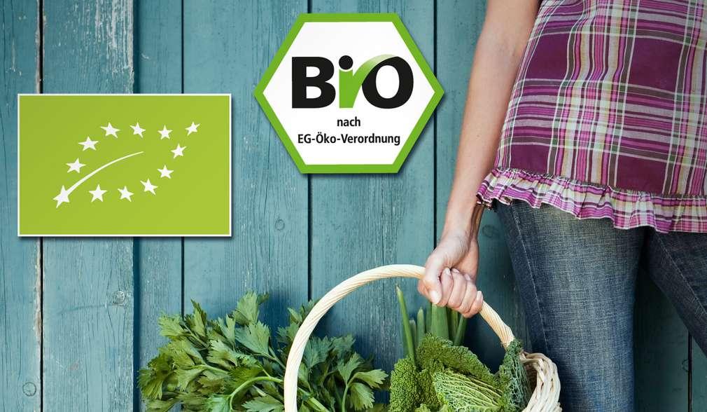 Bio-Logos vor Hintergrund