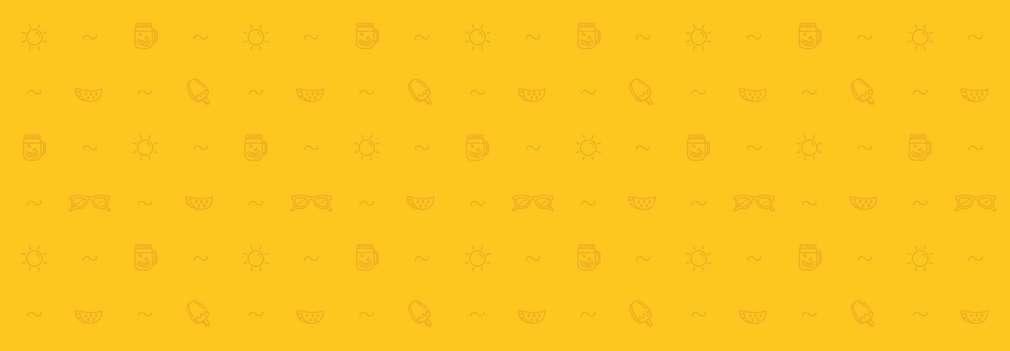 Gelber Hintergrund mit Symbolen wie Eis, Melone, Sonne, Sonnenbrille und Welle