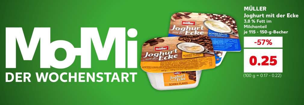 Produktabbildung: versch. Sorten MÜLLER Joghurt mit der Ecke 3,8 % Fett im Milchanteil, versch. Sorten je 115 - 150-g-Becher, -57 %, 0.25 Euro (100 g = 0.17 - 0.22); Schriftzug links: Mo-Mi – der Wochenstart
