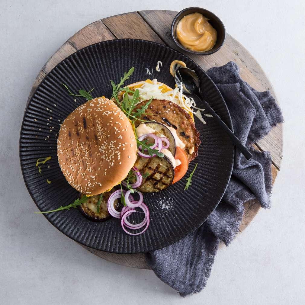 Abbildung des Rezepts Vegetarischer Burger mit Aubergine