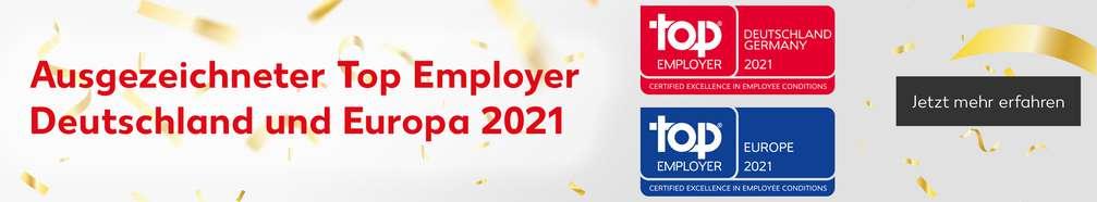 Auszeichnung Top Employer 2021 in Deutschland und Europa