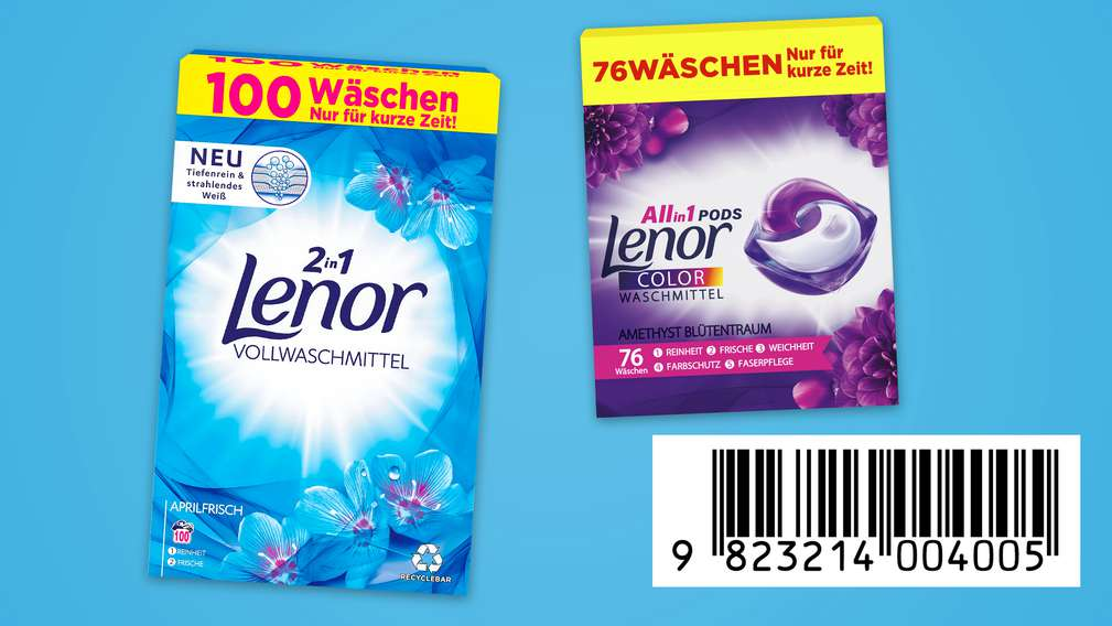 versch. Waschmittel von Lenor mit Code zum Abscannen an der Kasse