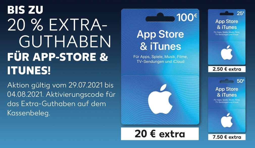 Produktabbildungen versch. Guthabenkarten für den App Store oder iTunes; Schriftzug: 20 % Extra-Guthaben für App Store & iTunes!