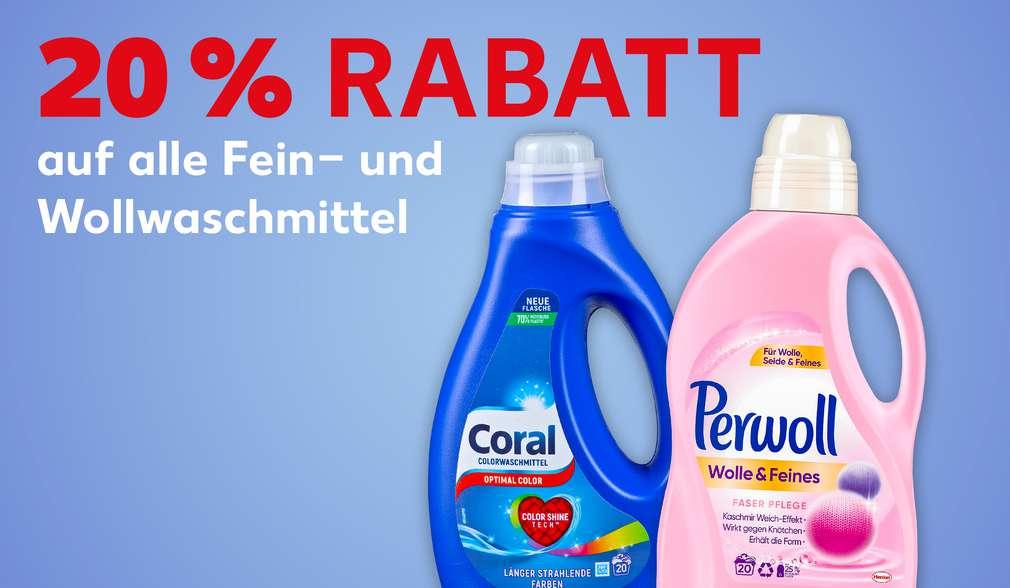 Produktabbildungen versch. Fein- und Wollwaschmittel; Schriftzug: 20 % Rabatt auf alle Fein- und Wollwaschmittel
