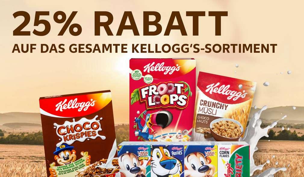 Rabattaktion: 25 % Rabatt auf das gesamte Kellogg's-Sortiment