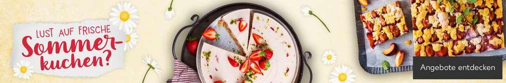 Abbildung Erdbeer-Philadelphia-Torte und Blechkuchen mit Pflaumen; Lust auf frische Sommerkuchen?