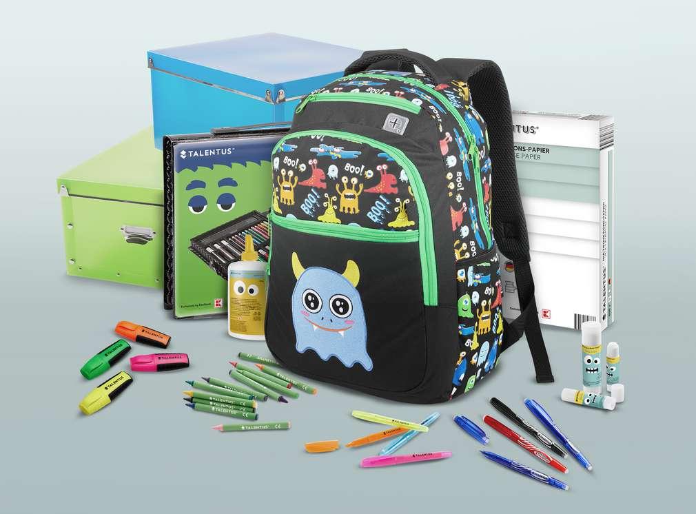 Abbildung verschiedener Produkte für die Schule wie Buntstifte, Schulranzen und Kisten