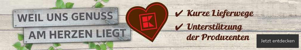 Schriftzug: Weil uns Genuss am Herzen liegt; Kurze Lieferwege, Unterstützung der Produzenten; Logo: Braunes Herz mit rotem Kaufland-K; Button: Jetzt entdecken