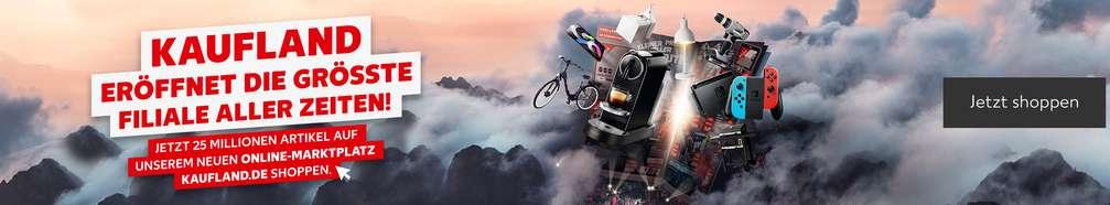 Prospekt schwebt über Berggipfeln, die von Wolken umhüllt sind, daraus fliegend versch. Produkte wie Nintendo Switch; Schriftzug: Kaufland eröffnet die größte Filiale aller Zeiten! Jetzt 25 Millionen Artikel auf unserem neuen Online-Marktplatz Kaufland.de shoppen.; Button: Jetzt shoppen