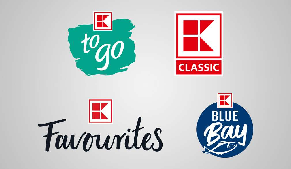 Eigenmarkenlogos: EXQUISIT, K-to go, K-Classic, K-Favourites, K-Blue Bay