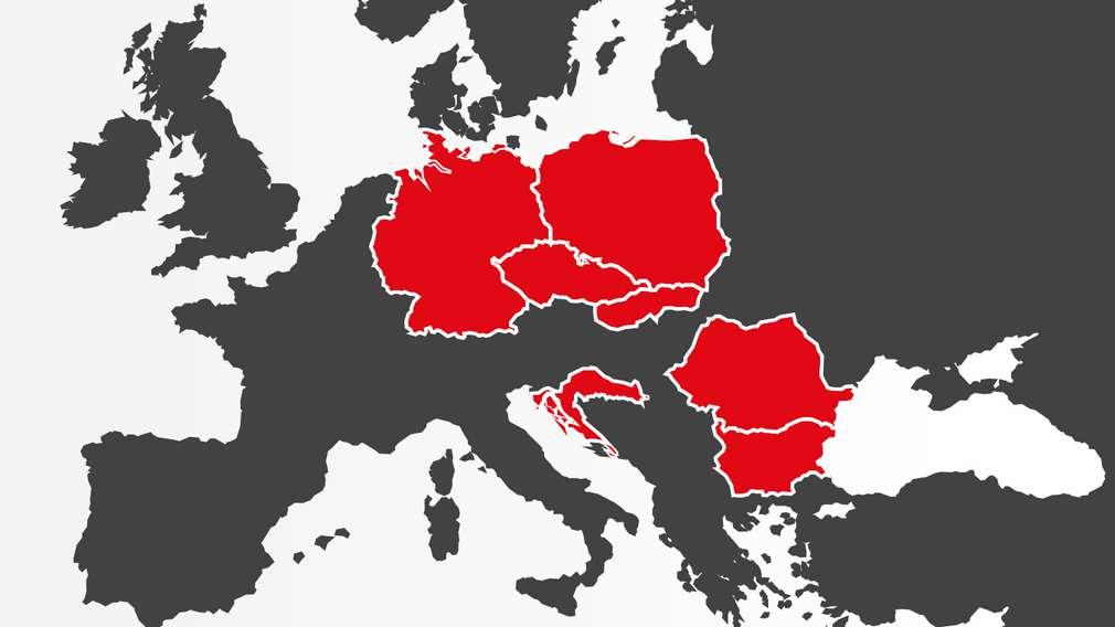 Europa-Karte, in der die Länder Deutschland, Tschechien, Slowakei, Polen, Kroatien, Rumänien und Bulgarien rot hinterlegt sind, da Kaufland hier vertreten ist.