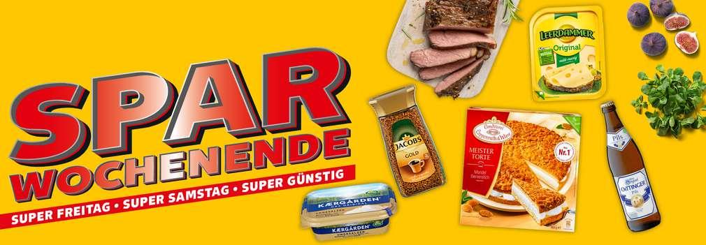 Versch. Angebote zum Spar-Wochenende; Schriftzug links: Spar-Wochenende – Superfreitag, Supersamstag, supergünstig
