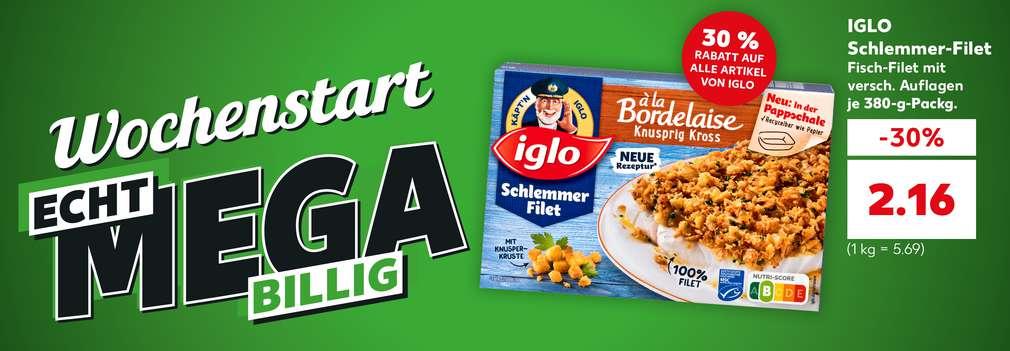 Produktabbildung: Iglo Schlemmer-Filet für nur 2.16 Euro; Störer: 30 % Rabatt auf alle Artikel von Iglo; Button: Echt mega billige Angebote entdecken